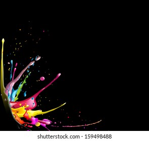 abstract illustration of a colorful ink splash