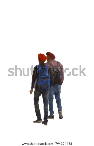 2250bec6 An abstract illustration created of two Muslim men walking together as  friends. Pure white background
