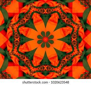 Abstract illustration crimson kaleidoscope mandala. Bright flower. Seamless pattern.