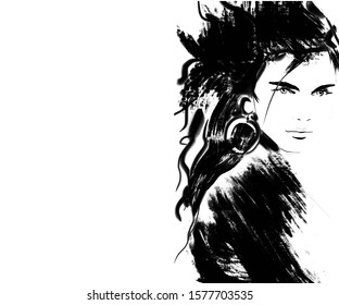 Abstract illustration of a cute fashion woman
