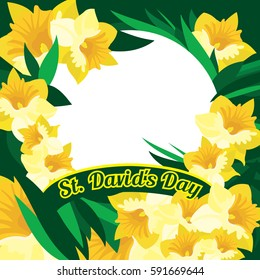 An abstract illustration of daffodils and leaves with the text St Davids Day set around a circular blank white frame