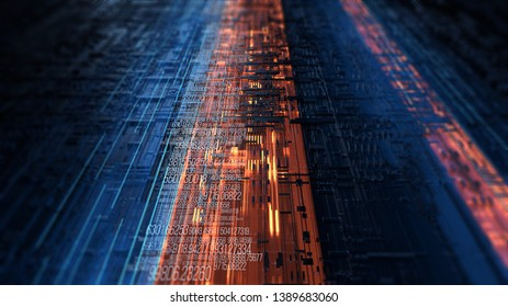 Abstract illustration of a data channel. Motion of digital data flow. Transferring of big data. Binary code processing/Transfer and storage of data sets. 3D Rendering