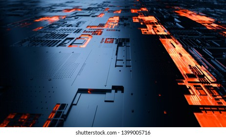 Abstract illustration of a data channel. Motion of digital data flow. Transferring of big data/Transfer and storage of data sets. 3D Rendering