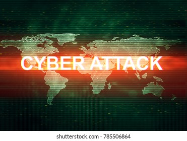 Abstract illustration of distorted dark green display screen with red light spot. Cyber attack inscription in worldwide technology interface. Glitch effect background. Conceptual image of dead pixels.