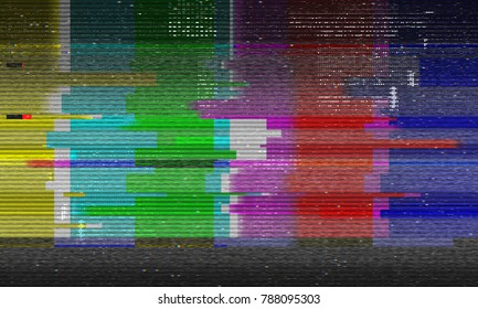 Abstract illustration of distorted tv test color bars. Glitch effect background. Conceptual image of vhs dead pixels.