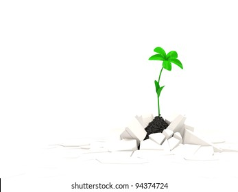 Abstract illustration of Fresh Green Plant Growing Through Crack with place for your text