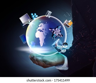 Abstract Illustration of Global business and integration of enterprise, distributed, mobile, legacy, multimedia application integration in a business man hands