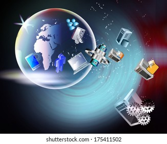 Abstract Illustration of Global business and integration of enterprise, distributed, mobile, legacy, multimedia application integration