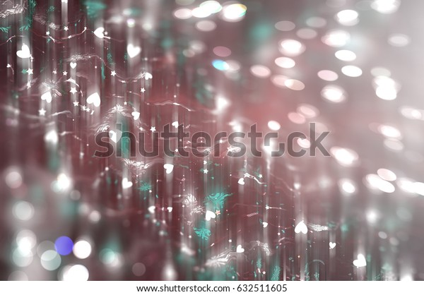 Abstract illustration glow soft hearts for Valentines day. Background red design.