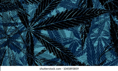Abstract illustration graphic marijuana cannabis leaf pile for texture background with vintage style
