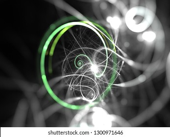Abstract Illustration - Green Plasma Ring, Explosion of light, hadron collider, flying through a wormhole, space warp, black hole, creation, spark of light, sparkler, brilliant glowing light, bokeh