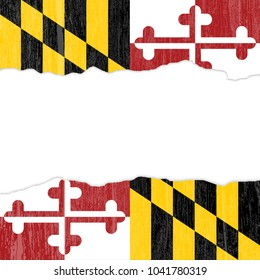 An abstract illustration of a grunge Maryland Flag color background with an isolated central blank space