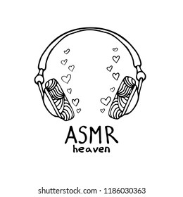 Abstract illustration of headphones in zentangle style. ASMR heaven text.