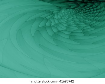 Abstract illustration made of wavy planes in green and black