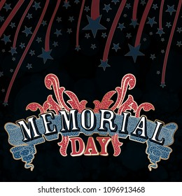 An abstract illustration of Memorial Day with design elements on a black background