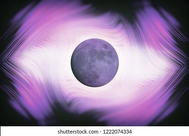 abstract illustration moon planet influence on man and earth sleepwalking tides other