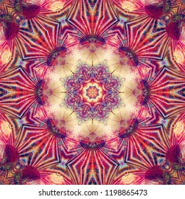 Abstract illustration multicolored kaleidoscope mandala. Bright flower. Seamless pattern.
