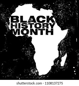An abstract illustration on the African continent with the text Black History Month in a grunge style black background