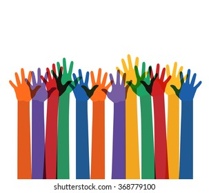 abstract illustration with raising multi color hands. raster version