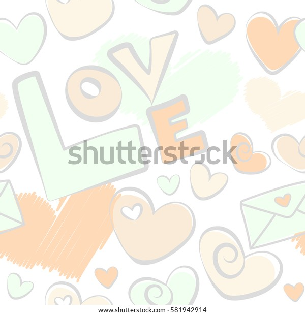 Abstract illustration. Seamless pattern Valentine background with hearts and love happy holiday in gray and beige colors. Hand drawing love motive on a white backdrop.