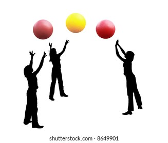 An abstract illustration. Silhouettes of girls playing the volleyball, three balls. Black figures, color balls, a white background.