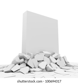 Abstract Illustration of Solid Concrete Block Breaking Through From Floor
