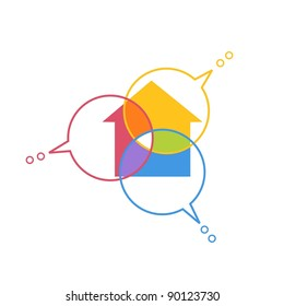 Abstract illustration in the spectral colors. Icon of collaborative design with house and thought bubble. Sign concept of co-creation.