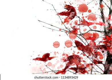 Abstract illustration of trees in autumn with watercolor drops. Red leaves in fall season.
