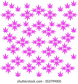 An abstract illustration of various marijuana leaves isolated on white.