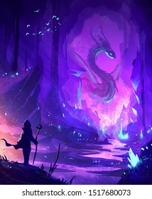 Abstract illustration of a warrior facing a dragon in cave