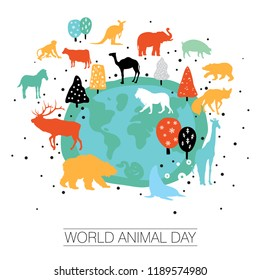 An abstract illustration of World Animal day on a white isolated background
