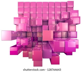 Abstract image of 3-d dynamic cubes. Colorful background in red toned isolated on white