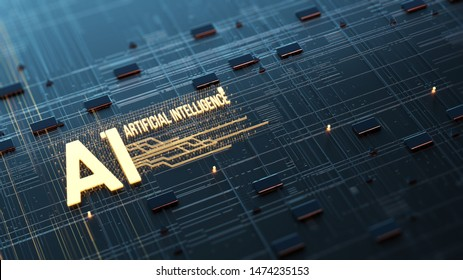 Abstract image of artificial intelligence, data processing in the server circuit board. Orange, green, blue technology background/Abstract image of artificial intelligence. 3d rendering