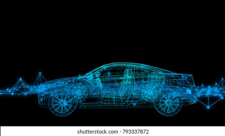 Abstract image car model body structure, wire model with Reflect 3d rendering