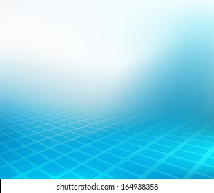 Abstract .jpg image of cool blue smooth twist of light and rectangles design. Created in hi-resolution suitable for background, web banner or design element. Plenty of copy space.