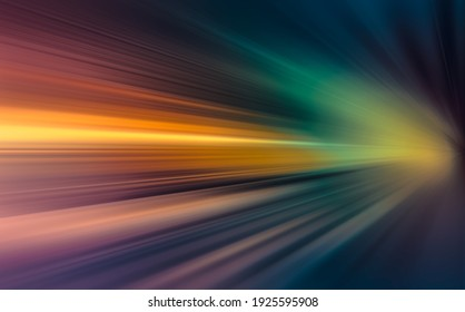 Abstract image of driving in the tunnel at night SPEED MOTION BACKGROUND on the road at dark.