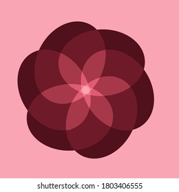 Abstract image of a flower with six petals on a pink background.  A large flower from pink in the middle to crimson and burgundy at the edges.  Beautiful background for postcards.