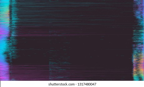 Abstract image of glitched LED screen. Broken video tape, TV signal error concept.
