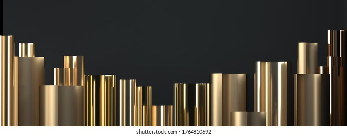 金色の円柱の抽象的な画像、デコ3D画像