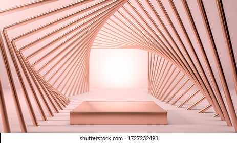 Abstract image of golden stage, podium or pedestal in geometrical golden tunnel over pink backgorund. Background for presenting your product, identity or packaging. Cosmetics and fashion image. 3d