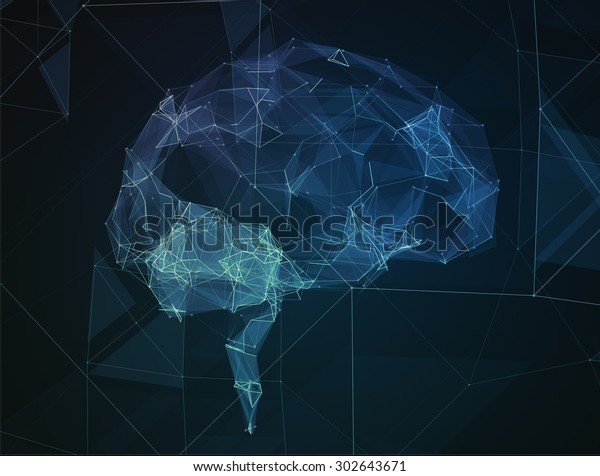 The abstract image of human brain in the form of lines of communication network.