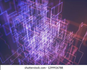Abstract image of line and connections, colorful abstract geometric shape. 3D illustration.