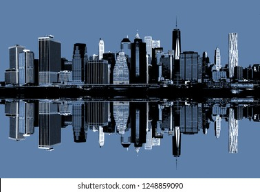 Abstract image of manhattan. Morning New York City skyline panorama with reflections. Contemporary art and poster style in blue