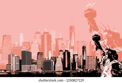 Abstract image of manhattan. Symbols of New York. Manhattan Skyline and The Statue of Liberty  NYC. Contemporary art and poster style in orange