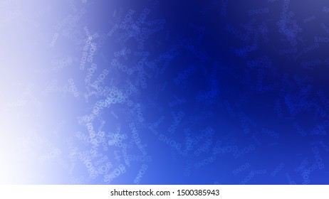 Abstract image with a randomly scattered word SNOB on a background with Midnight Black, Ultramarine, Azure color. Template for newsletter.