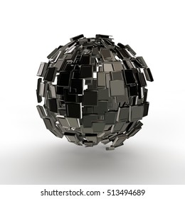 abstract image of scattering black fragments of the sphere, on a white background, 3d rendering