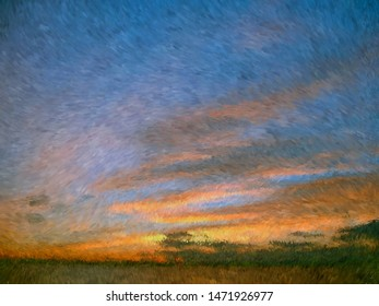 Abstract impressionist style sunset background painting