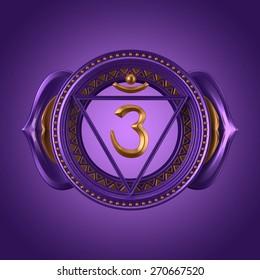 abstract indigo Ajna chakra symbol, 3d modern illustration