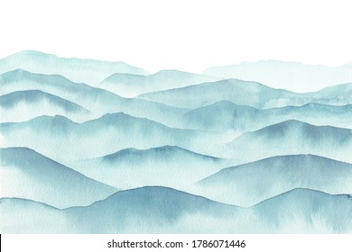 abstract indigo blue watercolor smoky mountains, Hand drawn illustration of beautiful mountain hills