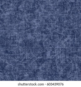 Abstract indigo dyed birdseye melange textured background. Seamless pattern.